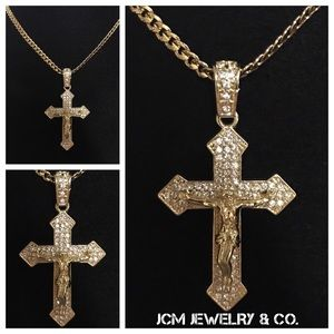 Other - 14K Gold Plated Cuban Link w/ Micro Cross Crucifix